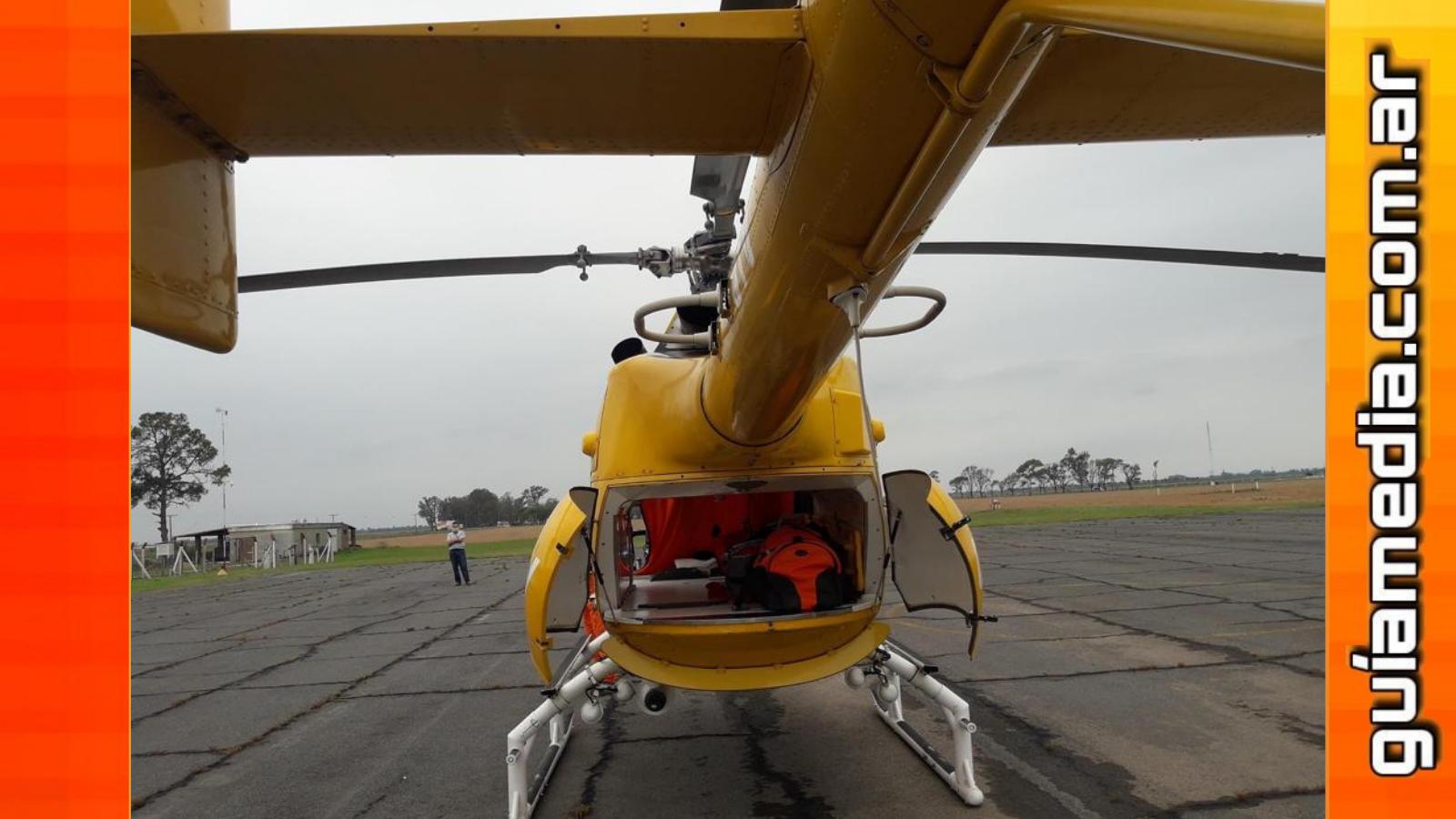 Coronavirus: Trasladaron a un paciente a Rosario en helicóptero